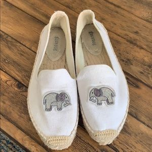 White Soludos with Elephant embroidery